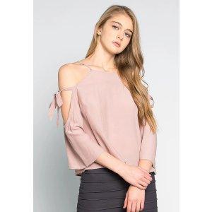 Calling For You Cold Shoulder Blouse in Light Pink