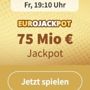 周五开奖 奖金累计7500万欧元没有手续费  EUROJACKPOT 3注只要€2