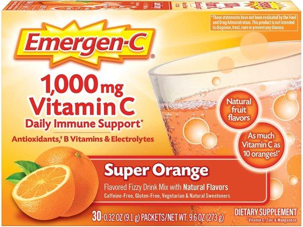 Emergen-C 1000mg 维生素C冲剂 30包 橘子口味