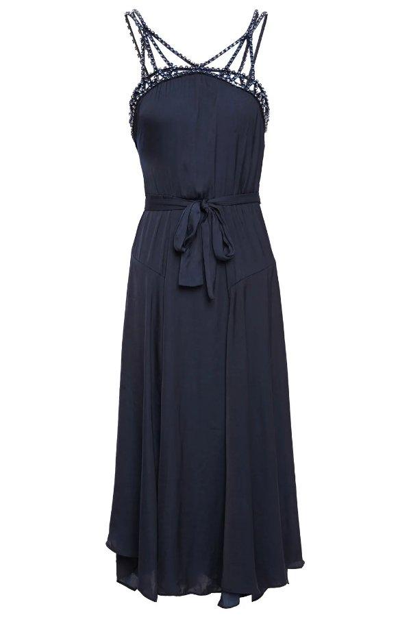 水晶缀饰连衣裙