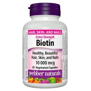 现价$9.47(原价$11.97)Webber Naturals 天然生物素胶囊 养发防脱发必备 45粒装