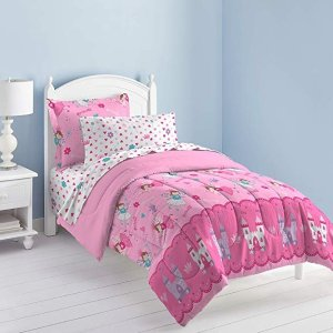 Dream Factory Magical Princess Ultra Soft Microfiber Girls Comforter Set, Pink, Twin @ Amazon