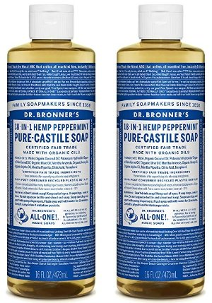 Dr. Bronner's Dr. Bronner's Pure-Castile Liquid Soap Shower and Travel Pack – Peppermint 16oz. (2 Pack)