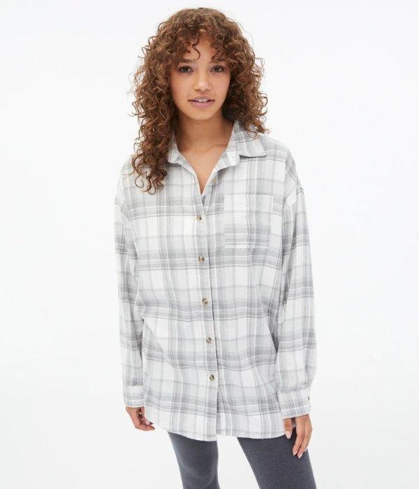 法兰绒格子衬衫