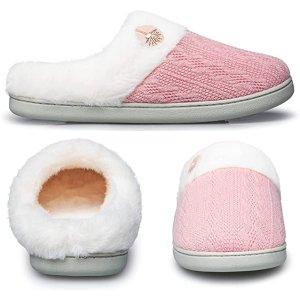 嫩粉 5色可选针织毛毛拖鞋