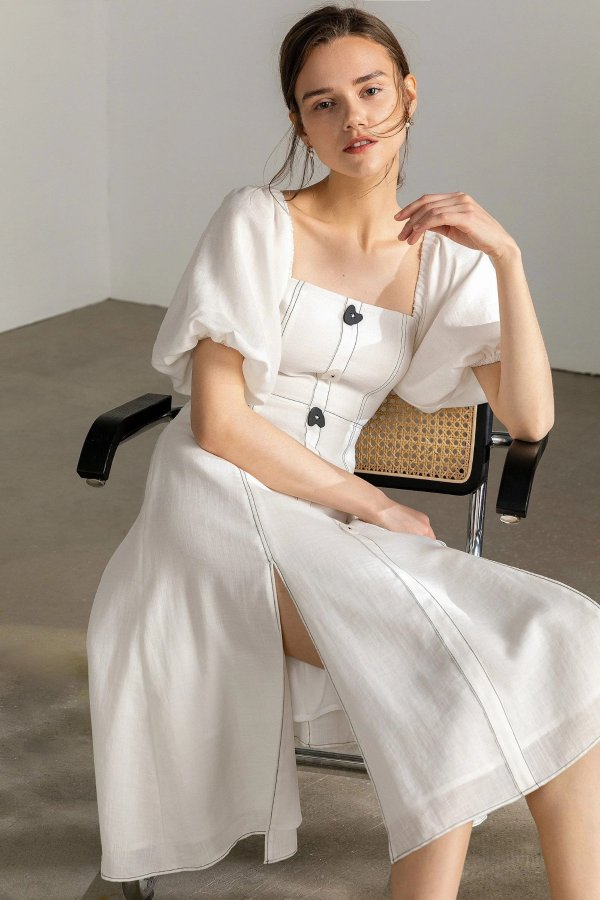 Kendra white Lantern 连衣裙