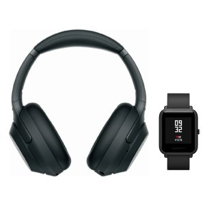 SonyWH-1000XM3 Wireless Headphones (Black) with Amazfit Bip (Onyx Black)