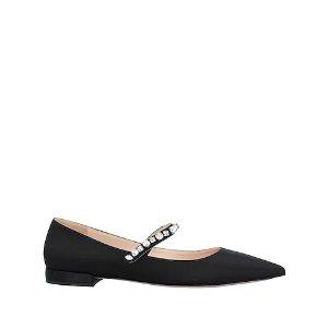 Prada黑色亮钻芭蕾鞋