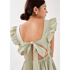 双色可选Vierra Padded 小飞袖绑结连衣裙