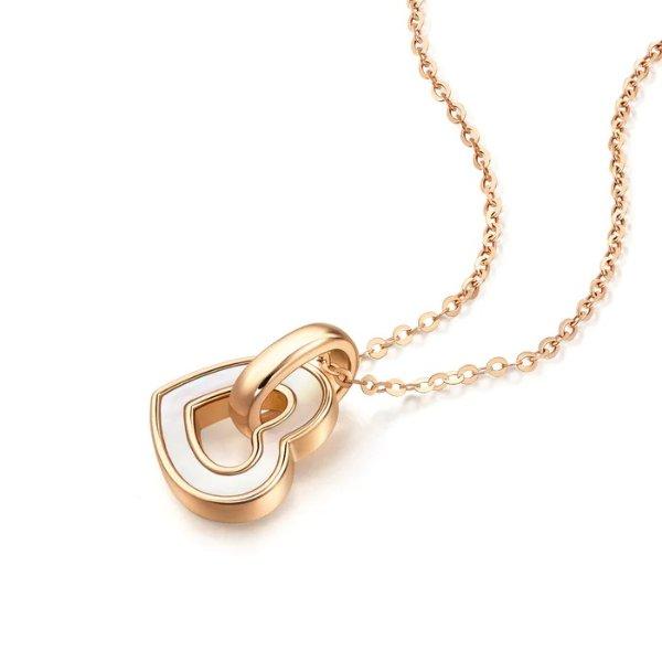 爱心贝母玫瑰金项链
