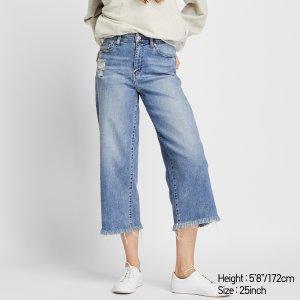 高腰阔腿牛仔裤