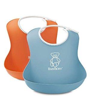 BABYBJORN Soft Bib - Orange/Turquoise (2 pack)