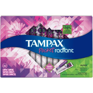 Tampax Pocket Radiant Compact Plastic Tampons, Unscented, Super, 32 Count