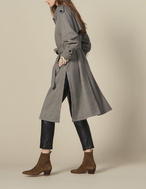 细格纹风衣外套