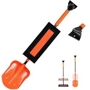 ORIENTOOLS 可伸缩便携雪铲+软泡沫扫雪刷+冰刮,三合一工具