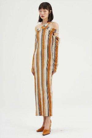 条纹丝绒紧身连衣裙