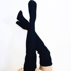 $46.31(原价$216)史低价:Steve Madden 黑色经典麂皮高筒靴平价替代款8号特卖