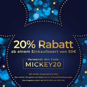 满€50立享8折Disney 官网十月热促 收可爱公仔、行李箱、水杯、卡通卫衣