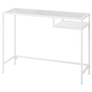 VITTSJÖ Laptop table - white, glass - IKEA