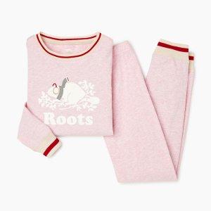 Roots粉色睡衣套装