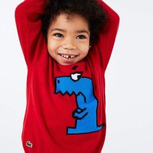 一律5折 奶油拼色Polo$35上新:Lacoste 童趣时刻 条纹小鳄鱼上衣$35 长袖Polo$40