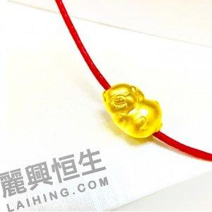 24K千足金 可爱小猪手鏈(3D硬金)