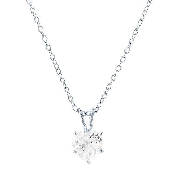 人工白色蓝宝石吊坠项链