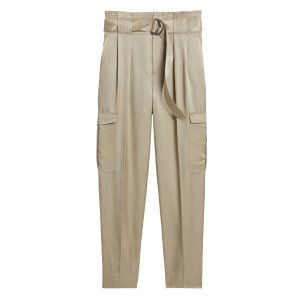 Banana RepublicHigh-Rise Tapered Satin Cargo Pant