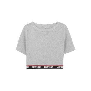 Moschino灰色logo短款上衣