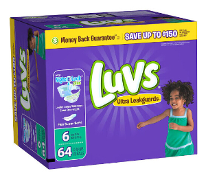 $12Luvs Ultra Leakguards Diapers, Size 6 - 64 count