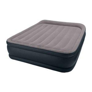 Intex Deluxe Raised Pillow Rest Air Mattress with Built-In Pump, Queen