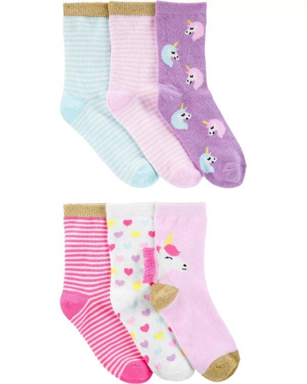 女孩独角兽袜子6双