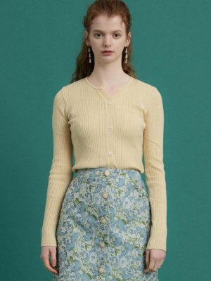 V-neck Button Knit Top Pastel Yellow  | W Concept