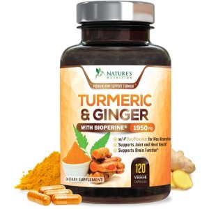 Turmeric Curcumin with Ginger 95% Curcuminoids 1950mg with Bioperine Black Pepper for Best Absorption, Anti-Inflammatory Joint Relief, Turmeric Supplement Pills by Natures Nutrition -  120 Capsules - Walmart.com