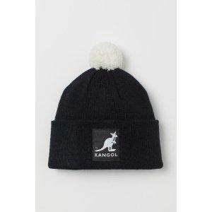 H&M黑色毛球帽