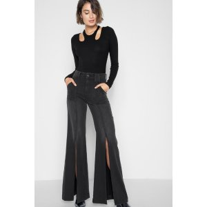 Palazzo Pant with Front Seam Splits in Noir - 7FORALLMANKIND