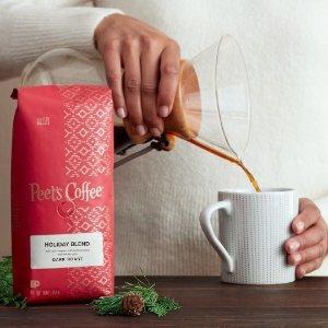 首单立享7折+每单免邮Peet's Coffee官网 袋装咖啡订阅服务,2020节日特款上新