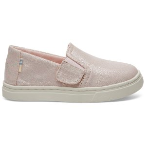 TomsPink Iridescent Droplets Tiny TOMS Luca Slip-Ons