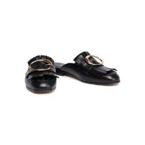 MajeFeli buckled fringed leather slippers