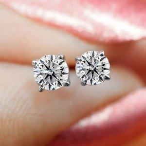 $127.97(原价$599)+免邮0.28克拉14K钻石耳钉热卖
