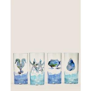 m&s深海动物图案杯子4件套