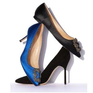 最高立减$200+免邮Manolo Blahnik 女鞋热卖,收女神都爱的钻扣高跟鞋