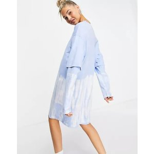 Weekday20% off $50Tracy long sleeved t-shirt dress in blue tie dye