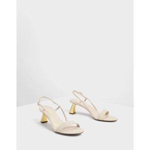 Charles & KeithTaupe Sculptural Heel Strappy Sandals | CHARLES & KEITH US