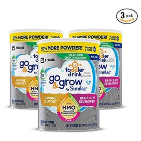 $60.23(原价$94.99)+包邮Similac Go & Grow 非转基因幼儿奶粉,36盎司*3