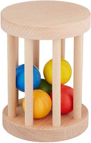 CutiePieToys Montessori Ball Cylinder Rolling Drum - Wooden Rattle Rolling Toy - Baby Infant Toy