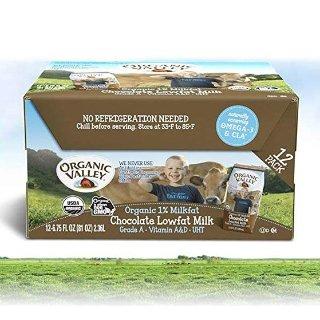 $13.58 宝宝爱喝的好牛奶Organic Valley 有机低脂巧克力牛奶12盒 6.75oz