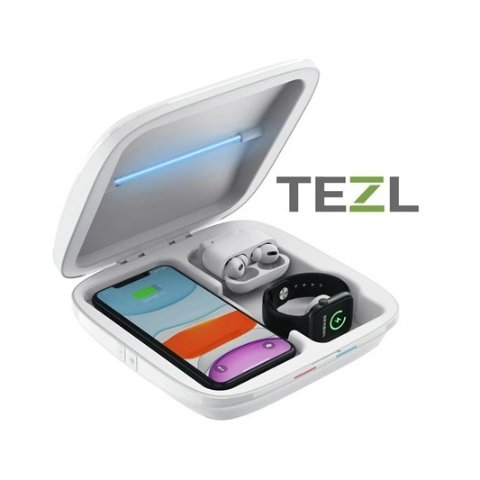 TEZL TZLUV-21 4-in-1 Multi port Charging Station and Sanitation Box