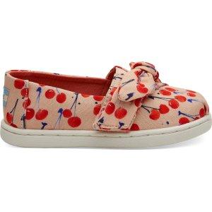 Toms樱桃图案小童鞋