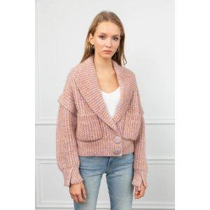J.ING购买2件8.5折 购买3件8折Rivka 粉色毛衣开衫